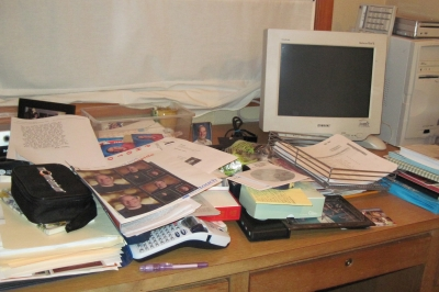 Lori's desk is in there somewhere...